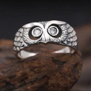 Silver Tone Diamond Eye Owl Ring